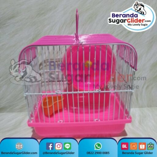 Kandang Besi Lipat Smart Home Pink Ukuran Mini Extra Small Size XS Hewan Peliharaan Joey Sugar Glider SG Bajing Kelapa Burung Guinea Pig Hamster Marmut Tupai Terbang