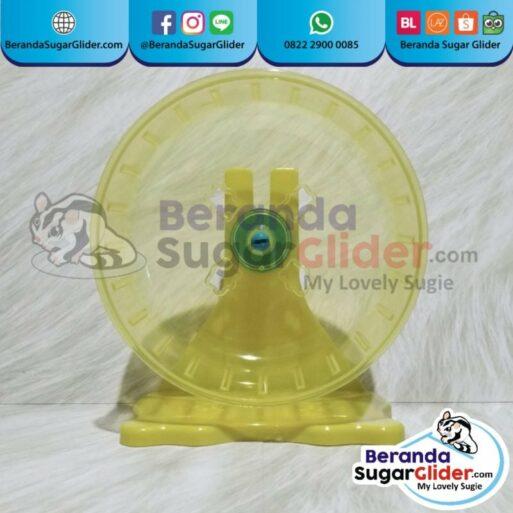 Jogging Wheel Roda Putar Warna Kuning Mainan Hewan Peliharaan Kecil Sugar Glider SG Bajing Kelapa Hamster Landak Mini Tupai Terbang Mamalia