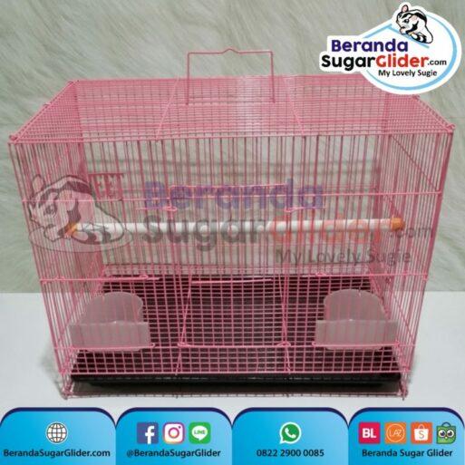 Kandang Besi Lipat Sweet Pink Ukuran Sedang Medium Size M Hewan Peliharaan Joey Sugar Glider SG Bajing Kelapa Burung Guinea Pig Hamster Iguana Landak Mini Marmut Musang Otter Tupai Terbang