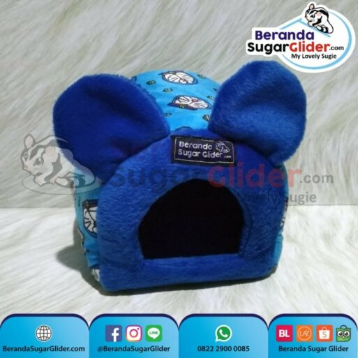 Sleeping Pouch Kuping Warna Doraemon Dalam Biru Tempat Tidur Sugar Glider SG Bajing Kelapa Tupai Terbang Mamalia