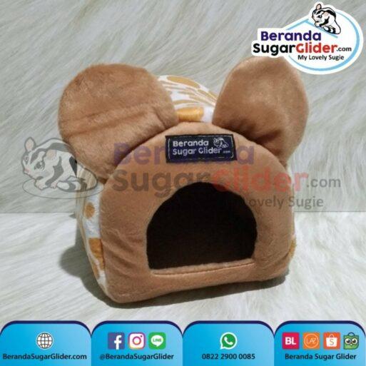 Sleeping Pouch Kuping Warna Jerapah Dalam Cokelat Muda Tempat Tidur Sugar Glider SG Bajing Kelapa Tupai Terbang Mamalia