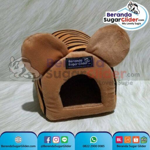 Sleeping Pouch Kuping Warna Macan Loreng Dalam Cokelat Muda Tempat Tidur Sugar Glider SG Bajing Kelapa Tupai Terbang Mamalia