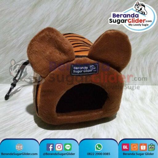 Sleeping Pouch Kuping Warna Macan Loreng Dalam Cokelat Tua Tempat Tidur Sugar Glider SG Bajing Kelapa Tupai Terbang Mamalia