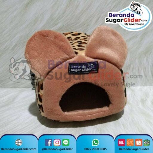 Sleeping Pouch Kuping Warna Macan Tutul Dalam Cokelat Muda Tempat Tidur Sugar Glider SG Bajing Kelapa Tupai Terbang Mamalia