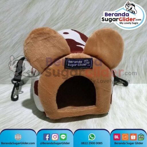 Sleeping Pouch Kuping Warna Sapi Cokelat Dalam Cokelat Muda Tempat Tidur Sugar Glider SG Bajing Kelapa Tupai Terbang Mamalia