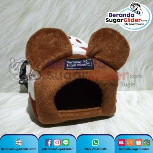 Sleeping Pouch Kuping Warna Sapi Cokelat Dalam Cokelat Tua Tempat Tidur Sugar Glider SG Bajing Kelapa Tupai Terbang Mamalia